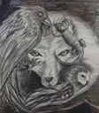 Harriet Sykes: 'Wolf!' (charcoal & pencil)