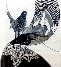 Annette Sykes: 'In the Leaf Litter' (linocut)